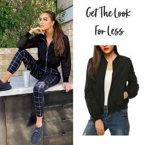 Khloe Kardashian Black Cropped Zip Bomber Jacket